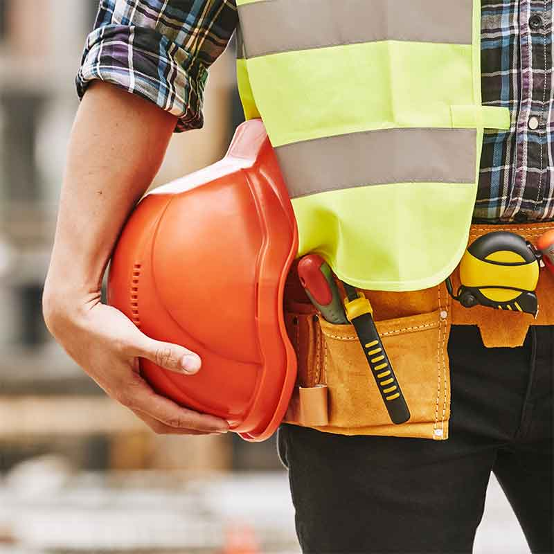Construction worker who needs hearing protection.